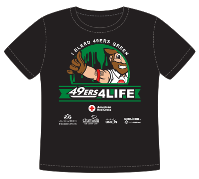 Illustration of the 49ers4Life drive t-shirt to be given to donors
