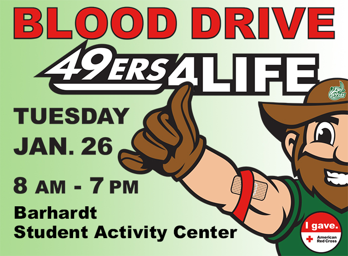 Banner about blood drive; Norm has arm with bandaid and red gauze indicating he has donated. Says Tue. Jan 26, 8am-7pm, Barnhardt Student Activity Center