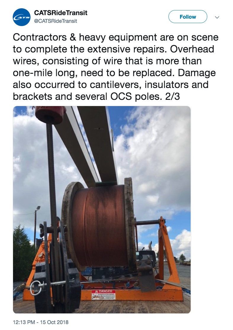 Photo of giant roll of wire used to replace demaged OCS