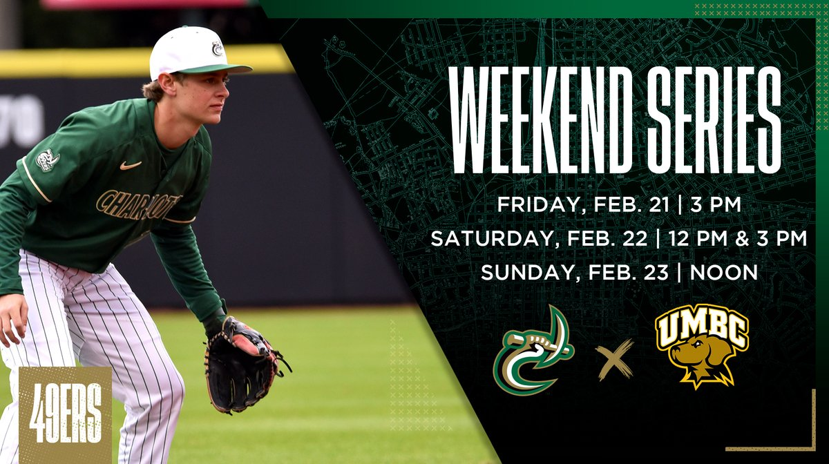 Ad with weekend baseball series and photo of Charlotte 49ers baseball player