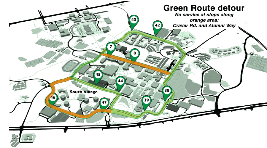 Map of Green Route detour