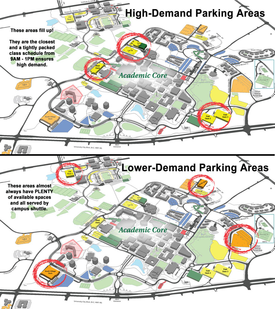 Two maps: one of high-demand parking areas, the other of lower demand areas.