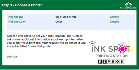 Screen shot of Ink Spot printer choice page