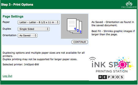 Screen shot of Ink Spot print options page