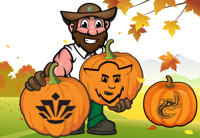 cartoon illustration of Norm holding UNCC-themed jack-o-lanterns in fall landscape