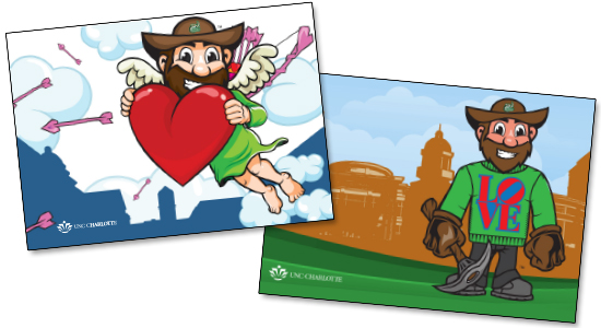 "Image of ""Norm as Cupid"" and ""Norm in LOVE Sweater"" illustrated postcards"