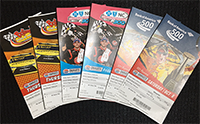 photo of NASCAR race tickets, 2 each to three races, Oct. 6-8