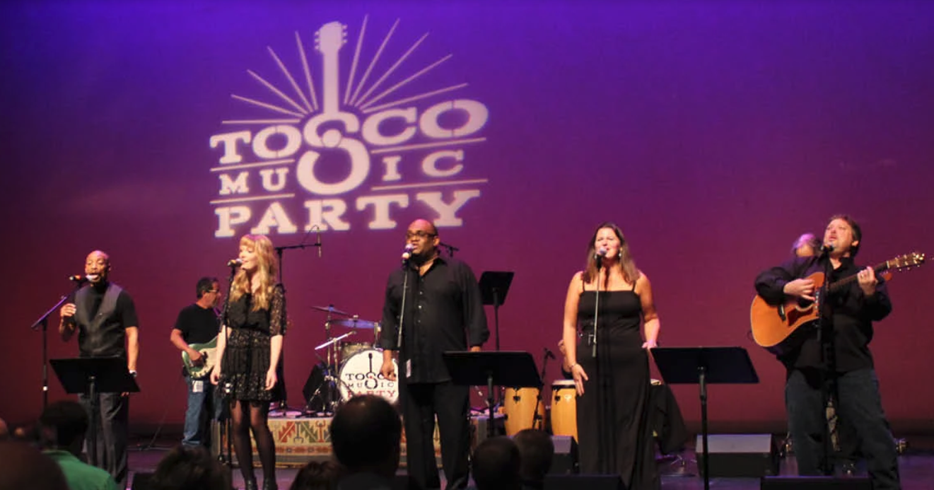 photo of several music performers on stage during Tosco Music Party event