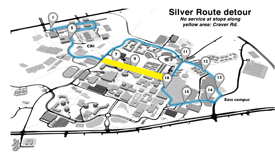Niner Transit detour map for Silver route, January 4
