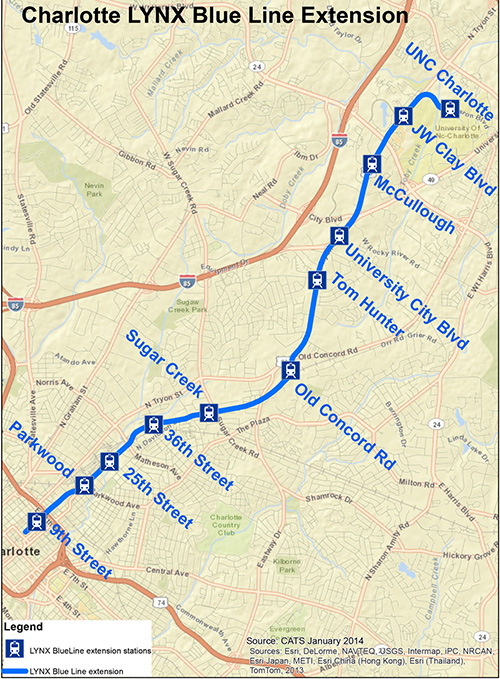 map showing LYNX Blue Line Northeast Corridor Extension route and stations