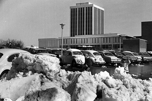 Photo from early 1970's of Cone Deck upper level parking after a snow