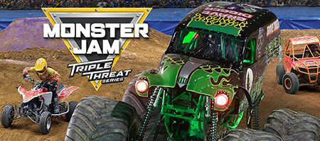 Monster Jam event logo superimposed over monster truck and vehicles