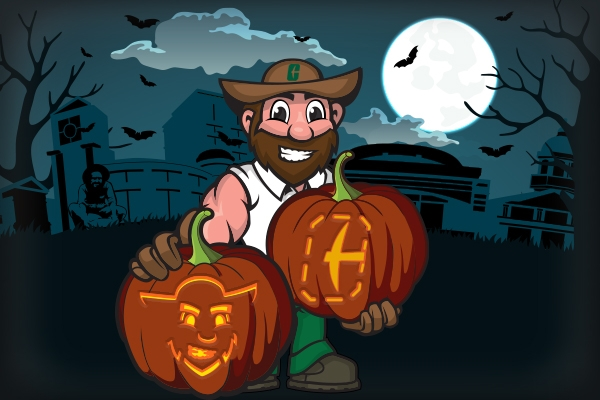 illustration of Norm on campus at night, holding 2 carved and lit jack-o-lanterns
