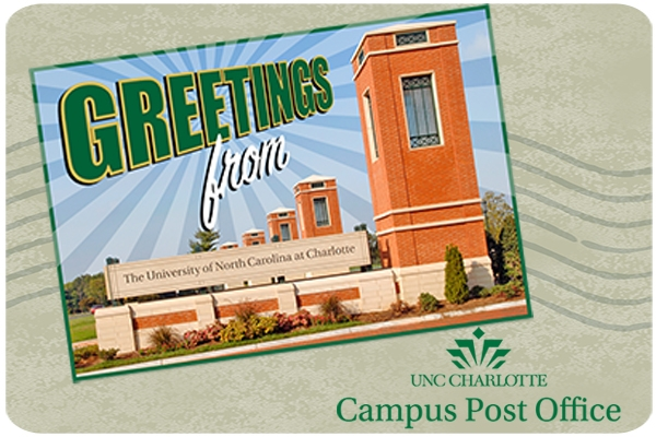 Photo of Greetings from UNC Charlotte postcard with old campus post office logo