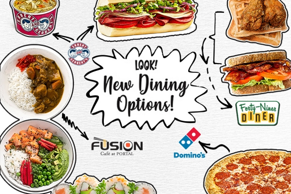 Ad showing new dining options - logos and food images