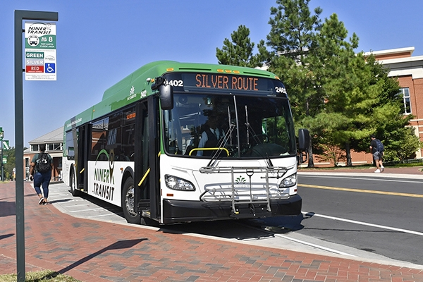 photo of Niner Transit bus at Student Union stop