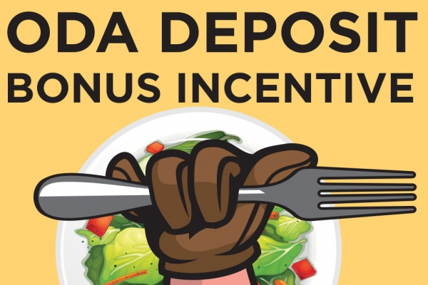 ODA Bonus Incentive Graphic with Norm holding fork