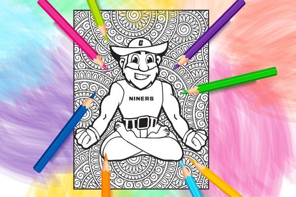 illustration of an adult coloring page with Norm in yoga position surrounded by mandala pattern