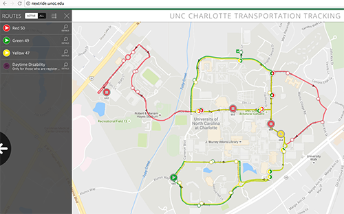 Screen shot of NextRide transportation tracking web page
